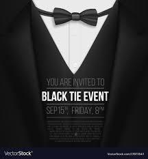 Realistic Black Suit Black Tie Event Invitation Vector Image