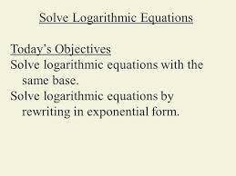 solve logarithmic equations