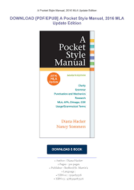 Download Pdfepub A Pocket Style Manual 2016 Mla Update Edition