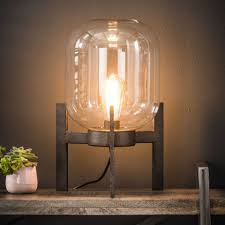 Tafellamp Tafel Lamp Homam Zwart Kwantum Kristallen Glazen