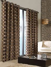stylish trendy ringtop eyelet lined circle pattern curtains beige brown colour