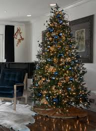 Blue and Gold Christmas Tree with Blue Butterflies.
