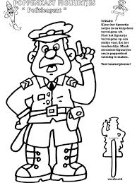 Politieagent Poppenkastfiguurtjes Knutselpaginanl Knutselen