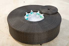 round outdoor coffee table. Source Outdoor Circa Round Wicker Coffee Table With Ice Bucket Round Outdoor Coffee Table O