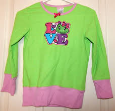 Long Frog Design Girls Steve Sleepwear Pajama Pj Shirt Long Sleeved L 10 12