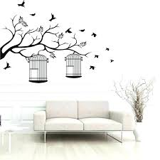 bedroom wall stickers tree branches birdcage birds living room removable background decor decals for target
