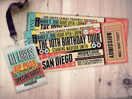 Concert Ticket Invitation Template Pop Star Rock Star Concert Ticket Birthday Party Invitation Music 10