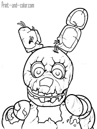Five Nights At Freddys 3 Colouring Pagesl