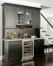 decoration the best design of wet bar for small space with black color of paintng wooden cabinet and white wall also brown laminating flooring with white black mini bar