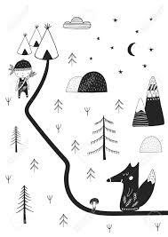 かわいい手は北欧風の野生の漫画の動物の養樹園ポスターを描いたモノクロのベクター イラストです