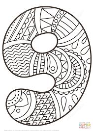 Disegno Da Colorare Di Numero Zentangle 9 Categorie Numeri