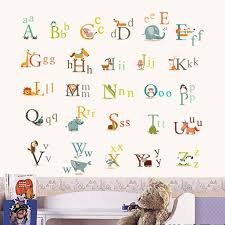 animal characters english letters wall