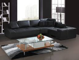 Elegant Living Room Interior Design With L Shaped Black Leather Sofa