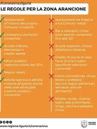 Zona gialla (rischio moderato, con l'elenco provvisorio delle relative regioni che si trovano nella lista il documento descrive minuziosamente quali sono le regole in vigore nelle relative zone. Coronavirus Liguria Zona Arancione Da Mercoledi 11 Novembre