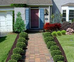 Landscape, Enchanting Green And Red Rectangle Rutic Grass Front Yard  Landscaping Plans Ornamental Red Brick