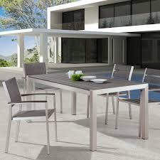 Aluminum Outdoor Dining Table Metropolitan Outdoor Dining Table Brushed Aluminum Teak Dcg