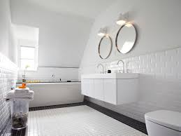 Bathroom Tile Ceiling Bathroom Black And White Tile Round Mirrors Sloped Ceiling Double