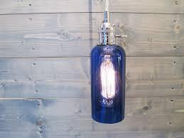 large blue wine bottle pendant light upcycled industrial glass ceiling light
