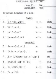 hands on equations algebra lesson 13