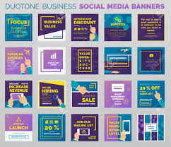 Duotone Styled Social Media Banners And Post Templates Outlined