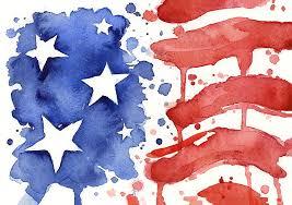 red painting american flag watercolor painting by olga shvartsur