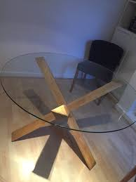 round glass and oak dining table 120cm