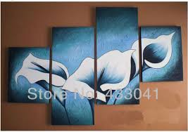 handpainted blue white calla lily flower landscape oil painting home decoration modern abstract canvas wall art 4 piece set sale in painting calligraphy  on blue and white wall art with handpainted blue white calla lily flower landscape oil painting home