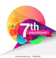 7th anniversary logo colorful geometric background vector design template elements for your 7 years birthday