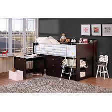 Savannah Storage Twin Wood Loft Bed with Desk Espresso Walmart