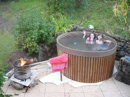 homemade outdoor hot tubs designs outdoor bathtub wood fired