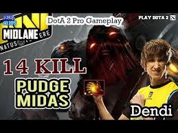 dota 2 dendi pudge midas item build pro ranked gameplay