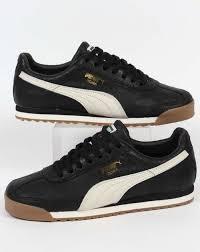 puma roma distressed trainers in black white leather men s shoes puma soccer puma belt uk factory