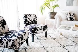 image of faux living room cowhide accent chair