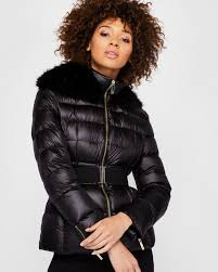 women ted baker junnie faux fur collar quilted jacket black j6e974 ted baker