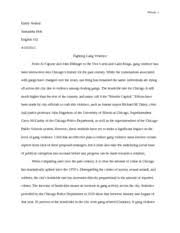 fighting gang violence rough draft essay nelson emily nelson fighting gang violence rough draft essay nelson 1 emily nelson samantha holt english 102 fighting gang violence from al capone and john dillinger to