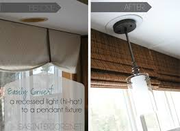 easily and inexpensively convert a recessed light to a hanging decorative fixtures by jenna burger via
