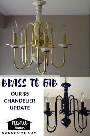brass to fab spray painted chandelier navy blue