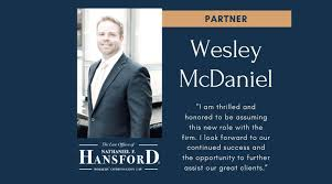 Attorney Wesley McDaniel Named Law Firm Partner
