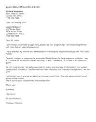 Changing Careers Cover Letter Career Change Cover Letter Example