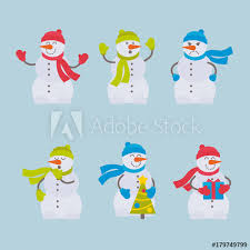 Set Of Vector Flat Colorful Snowmen For Web Print Mobile