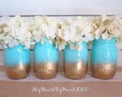 Ball Jar Decorations Baby Shower Mason Jar Centerpieces Ombre Mason Jars Baby Teal 35
