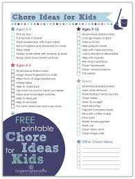 Chores Made Easier Free Printable List Of Chore Ideas For Kids