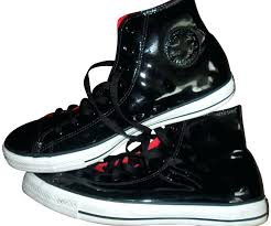 converse black patent leather high top tennis shoes athletic