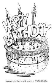 Sketch Cake Candles Birthday Stock Vector Royalty Free 358696694