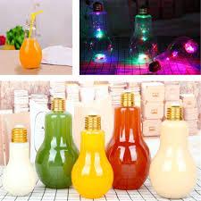 Light Bulb Drink Bottle Plastic Light Bulb Shaped Bottle Juice Milk Drink Cup Water