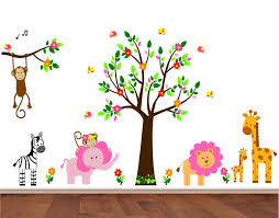 pink jungle wall stickers wall decals