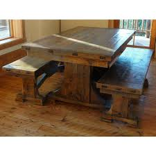 wood trestle dining table rustic tables