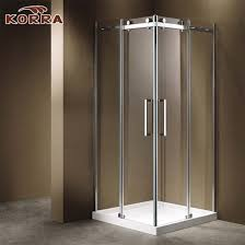 corner shower room with two sliding door panels