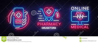 pharmacy design company medical neon sign collection vector pharmacy design template neon