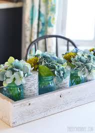 rustic spring teal mason jars hydrangea rustic barnwood box centerpiece